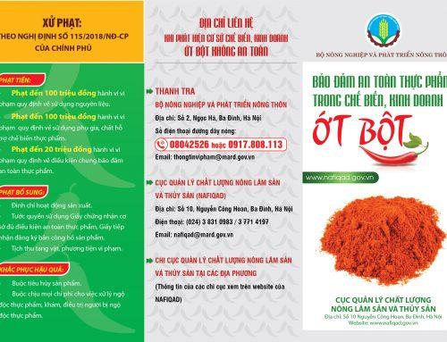 Bảo đảm an toàn thực phẩm trong chế biến kinh doanh, ớt bột