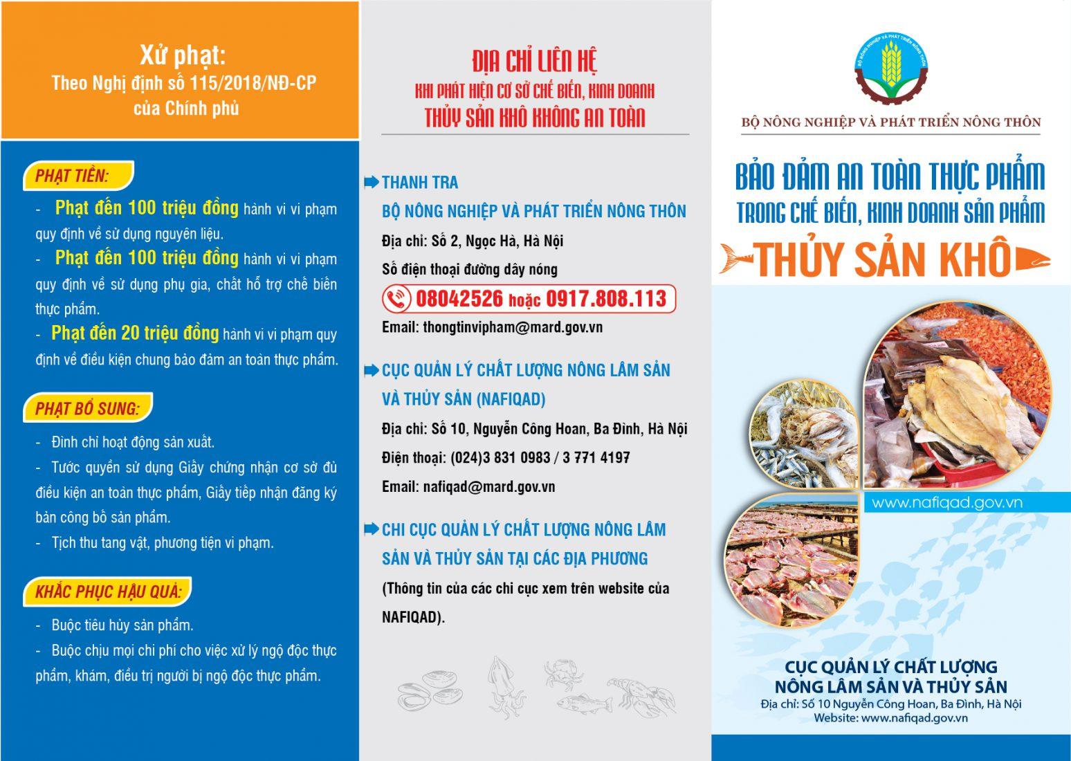 Bảo đảm an toàn thực phẩm trong chế biến, kinh doanh sản phẩm thủy sản khô